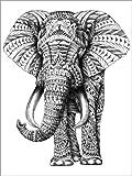 Posterlounge Holzbild 70 x 90 cm: Ornament Elefant von BIOWORKZ - BIOWORKZ