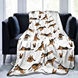 Belgala Blanket German Shepherd Dogs Poses Flannel Fleece Throw Blankets for Baby Kids Men Women,Soft Warm Blankets Queen Size and Throws for Couch Bed Travel Sofa 60inchX50inch,Black