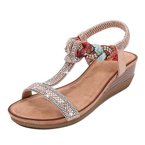 Xnhgfa Sandalias Cuña para Mujer Verano Bohemia Moda PU Cuero Comodidad Elegante Correa Tobillo Elástica Chanclas Punta Abierta Damas Zapatos Casuales,Rosa,40