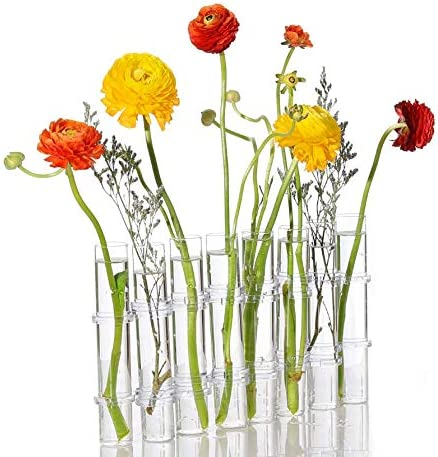 Glass tube with porcelain and natural flowers