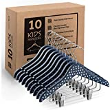 High-Grade Wooden Childrens/Kids Hangers with Clips (10 Pack) Cute & Charming, Durable Baby Hangers / Nursery Hangers - 12.5 Inch - 360° Hook & Cut Notches- Great Toddler Hanger For Dress Skirts Pants