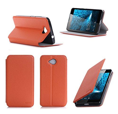 Microsoft Lumia 650 Tasche Leder Style orange Hülle Cover mit Stand - Zubehör Etui smartphone 2016 Lumia 650 Dual SIM Flip Case Schutzhülle (Handy tasche folio PU Leder, orange) - Brand XEPTIO accessoires