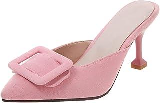 RizaBina Women Stylish Kitten Heels Backless Shoes Pointed Toe Slide Sandals