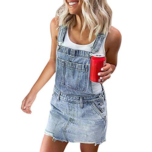 Jodimitty Damen Sommer Latzkleid Minikleid Overall Kurz Jumpsuit Denim Latzrock mit Gänseblümchen Camouflage Jeans A Linie Trägerkleid Ärmellos Casual Playsuits