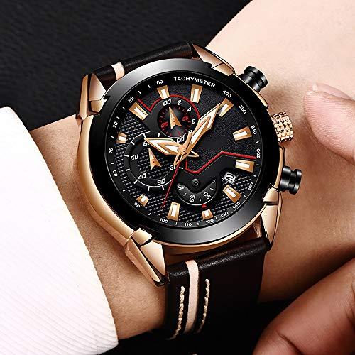 Voigoo Herrenuhren Business Fashion Top Luxus-Marken-Quarz-Uhr-Sport-beiläufige wasserdichte Leder-Uhr-Mann Relogio Masculino + Box