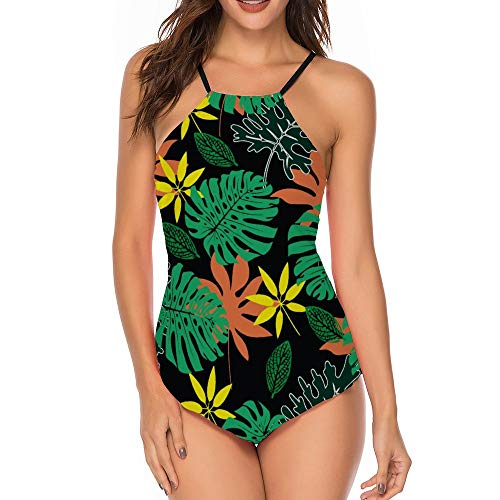 Women One Piece Swimdress Tummy Control Swim Dress Swimwear Slimming Skirt Swimsuits Bathing Suit Dress Palm Leaf Palm 19 S