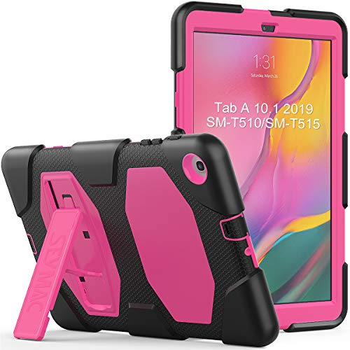 Samsung Tab A 10.1 Case, SEYMAC Three Layer Hybrid Shockproof Protective Case with Firm Kickstand for Samsung Galaxy Tab A 10.1 Inch 2019 Released[SM-T510 SM-T515](Pink/Black)