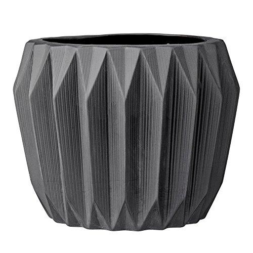 Bloomingville Blumentopf, Keramik, rund, geriffelt, Grau 8 Inch x 6 Inch dunkelgrau