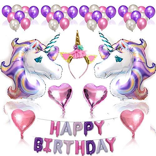 Nvetls 56Pcs Einhorn Luftballons Geburtstag Set Einhorn Party Deko mit Einhorn Stirnband (Lila)