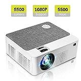 Tragbarer Mini Projektor mit 5500 Lumen 1280 * 800P LED Projektor 200 'LCD Heimkino Projektor Unterstützung 1080P Kompatibel mit PC, Telefon, PS4, X-Box für Heim und Außenunterhaltung