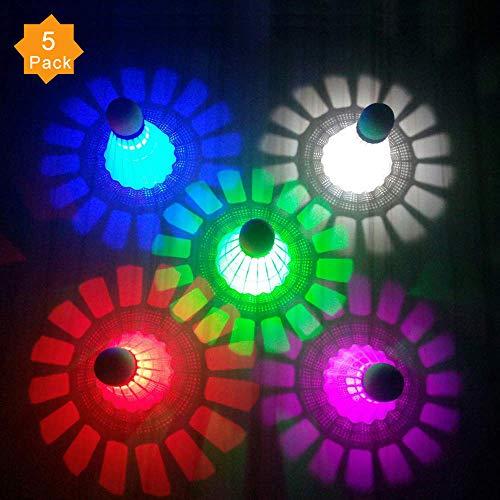 ZHENAN LED Badminton Shuttlecocks Dark Night Glow Birdies Lighting for Outdoor & Indoor Sports Activities (Nylon_5pcs)