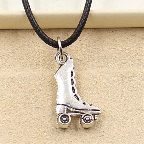 xtszlfj Tibetano Plata Color Colgante Patines Patines Collar Gargantilla Encanto Negro Cuero cordón Precio joyería Hecha a Mano