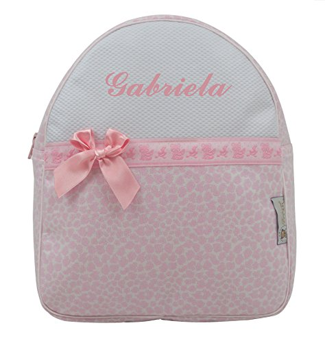 Mochila o Bolsa Infantil Personalizada con Nombre en plastificado. Modelo Gabriela (Rosa)