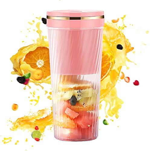 Portable Blender, 350ml Personal Size Blender Smoothies and Shakes,11oz Handheld Blender Sports, Travel, Gym (Pink)