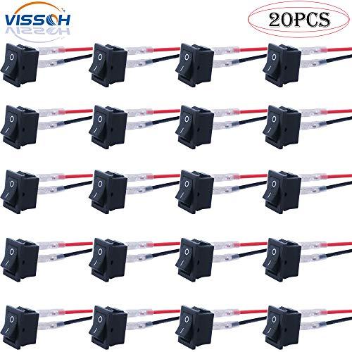 VISSQH 20 Stücke Druckschalter AC 6A / 250V 10A / 125V,ON/OFF Kippschalter, 12v 2 Stiche Mini Boat Wippschalter KFZ Schalter,mit vorverdrahtetem SPST Ein/Ausschalter,Mini elektronisches An Aus