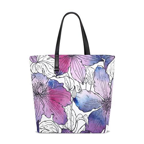 Hengpai Frenchie Floral Bulldog Süße Blumen Bulldogge Überwurf Decken Tragetasche Handtasche Schultertasche für Frauen Mädchen, Weiá (Multi6), Einheitsgröße