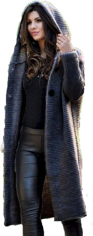 Women Casual Open Front Pocket Cardigan Long Sleeve Knit Sweater Coat Hooded