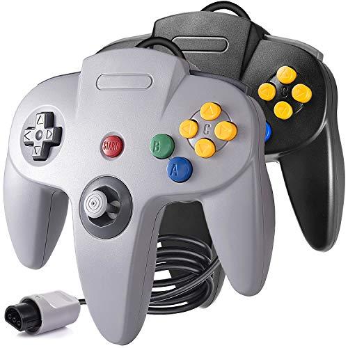 suily 2 Pack Game controller Klassischer Wired Gamepad Joystick für N64 Konsole N64 System Schwarz & Grau