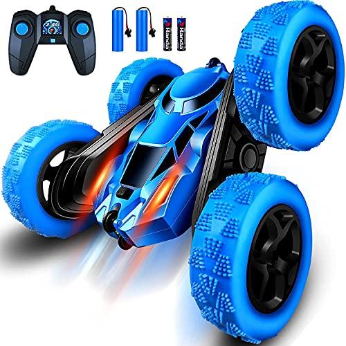 RC Cars Stunt Car Toy, 2,4 GHz RC Racing Trucks fuoristrada, camion radiocomandato con fari a LED, rotazione a 360° e giocattolo per bambini