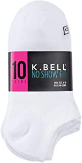 K. Bell Ladies - No Show Sock - 10 Pair Pack (Sock size 4-10, White)