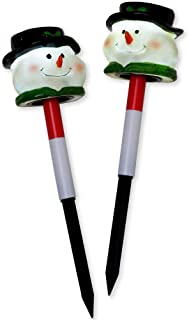 Bits and Pieces - Set of Two (2) 12 Inch Tall Solar Snowman Garden Stakes - Christmas Holiday Yard Light Decoration