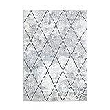MyShop24h Alfombra de pelo plano Moda geométrico, diseño de rombos en gris y blanco, salón, tamaño en cm: 140 x 200 cm