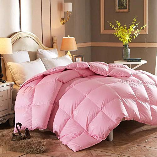 Kingsize Duvets White goose Feather and Down Duvet -100% Cotton Anti Dust Mite & Down Proof Cover-10.5 Tog, Double Size-pink_180x220cm-4000g