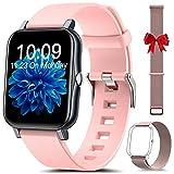 HLEIUKT Smartwatch Donna, 1,7'' Touch Screen Completo Orologio Fitness, Contapassi con Temperatura Corporea Sonno Cardiofrequenzimetro, Impermeabile IP68 Orologio Smart Watch per Android iOS, Rosa