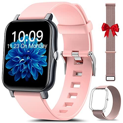 HLEIUKT Smartwatch Damen, 1,7 Zoll Fitnessuhr mit Körpertemperatur, Pulsuhr, Schrittzähler, Schlafmonitor IP68 Wasserdicht Fitness Tracker, Armbanduhr Damen für iOS und Android, Rosa