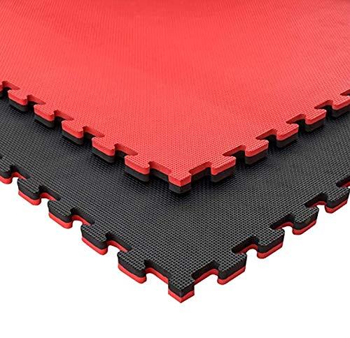 Pack de Tatami Puzzle de 100 x 100 x 2,5 cm Especial para Artes Marciales, gimnasios o Deportes de Contacto | Goma Espuma | Suelo Tatami japonés (20 Unidades (20 m2), Negro/Rojo)