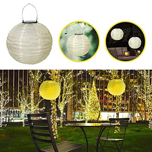 1 Piezas Guirnalda de Luces Solares Farolillos de Papel Decorativos Luz Colgante de Jardín Linternas de Papel de Seda Chinas, para Jardín Porche Patio Césped Navidad Partido(Color Cálido)