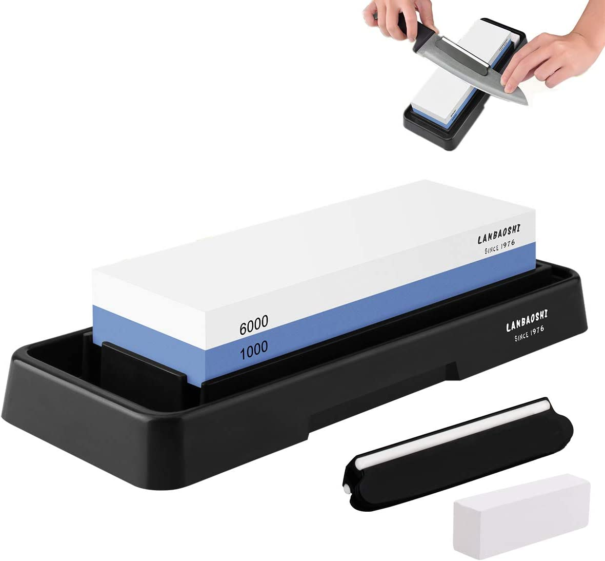Knife Sharpening Stone Set , Whetstone Dual Sided 1000/6000 Grit Waterstone with Angle Guide Non Slip Rubber Base Holder, Knife Sharpeners Tool Kit for Kitchen Hunting (Blue + black): Kitchen & Dining