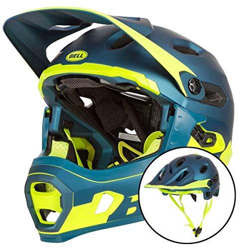 BELL Super DH MIPS, Casco da Bicicletta MTB Unisex-Adulti, Opaco/Blu Lucido/Hi-Viz, M | 55-59cm
