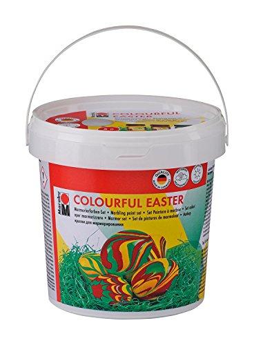 Marabu 1305000000093 - Easy Marble Colorful Easter, Marmorierfarbe, Set zum Tauchmarmorieren von Kunststoff, Glas, Holz und Styropor, 3 x 15 ml Farbe, 5 Kunststoffeier, 5 Holzspieße und Ostergras