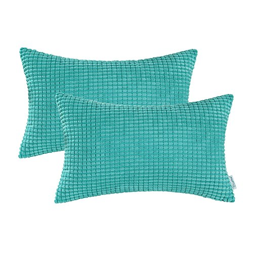 CaliTime Pack of 2 Comfy Pillow Covers Cases for Couch Sofa Bed Decoration Comfortable Supersoft Corduroy Corn Striped Both Sides 12 X 20 Inches Turquoise