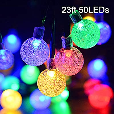 23ft 50 LED Solar Outdoor Crystal Ball Lights, Solar Powered Christmas Lights Waterproof Decorative Lights with 8 Modes for Valentine's Day Gift, Wedding, Garden, Home Decorative(Multi-Color)