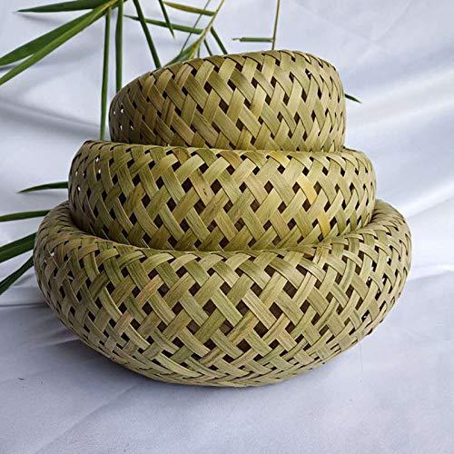 Qiuming 3 unids/set hecho a mano bambú fruta cesta pan cesta bandeja contenedor de almacenamiento redondo poco profundo cesta hogar
