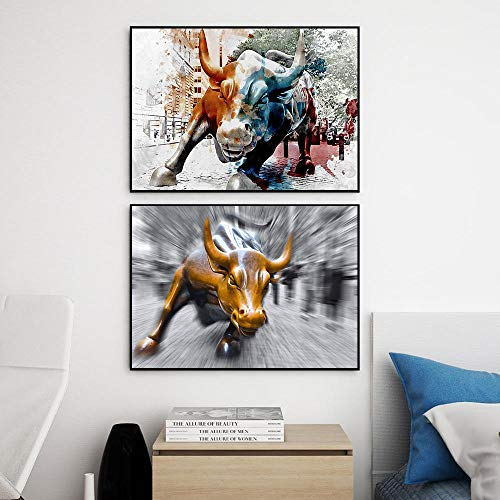 YCHND Wall Street Bull Poster E Stampe Cool Wall Decorazioni Vintage Art Canvas Painting for Living Room Bedroom Home Decorazioni Quadro 40x60cmx2 Senza Cornice