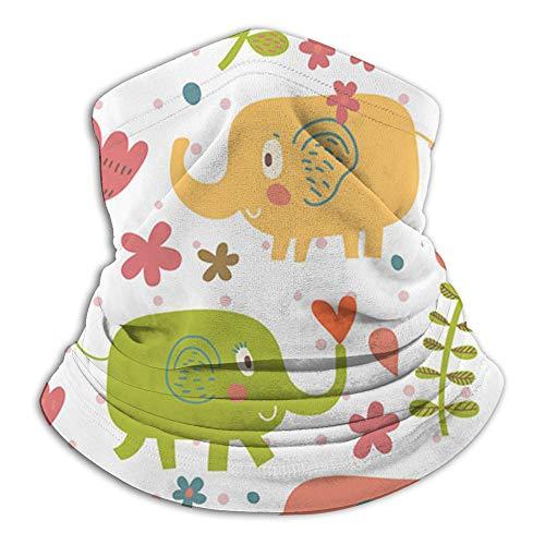 Dibujos animados Divertido Infantil Elefantes Flores Animales lindos Elefante Cara Bufanda Casual Pasamontañas Sombreros Pañuelo elástico Diademas Protección contra el viento/sol/Uv