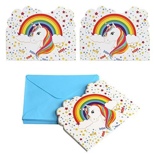 Kesote Ensemble de 24 Licorne Cartes d'invitation pour Anniversaire Baby Shower Anniversaire Fille Enfant Décorations et Accessoires, 24 Cartes + 24 Enveloppes