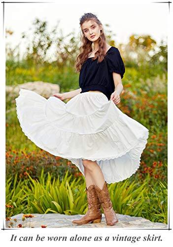 """BEAUTELICATE Falda Mujer Algodón Larga Corta Combinación Enaguas para Vestido Boda Antiestática Negro Marfil con Encaje Dobladillo, Marfil - 30"""", L"""