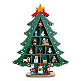 Decoraciones de Madera para Mesa de árbol de Navidad, Decoraciones en Forma de árbol de Navidad, Decoraciones y Accesorios para Disparar decoración-Verde Rojo
