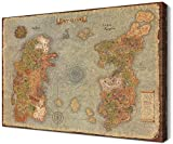 Retro World Map of Warcraft HD Canvas Wall Art Decor Framed Azeroth Game Prints and Posters Ready to Hang for Boy for Game Room Decor (16''H x 24''W)