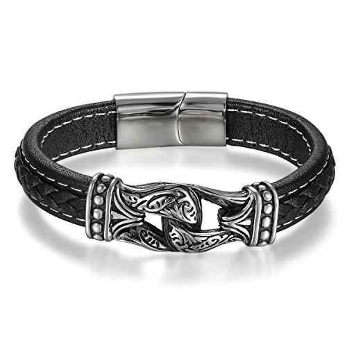 JewelryWe Schmuck Herren Armband, Retro Muster Infinity Unendlichkeit Zeichen Geflochten Armreif, Leder Edelstahl, Magnet Verschluss, Schwarz Silber