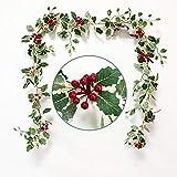 2m Guirlande Sapin Noël Artificiel Vert avec Givre et Fleur, Couronne rotin Noël décoratif avec Pomme de pin nœuds de Papillon pour décoration cheminée accoudoir Porte