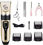 Cotify Dog Clipper, Professional Pet Grooming Clippers kit, Rechargeble Low Noise Pet Clippers Kit USB Charging Cordless Dog Hair Clippers Trimmer Set with Scissors for Dogs Horses Cats