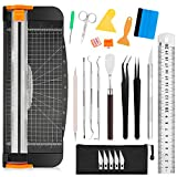 Famomatk 23PCS Weeding Tools for Vinyl, Craft Weeding Tools Set with 12Inch Paper Cutter and Trimmer for Scrapbooking,Silhouettes,Cameos,Lettering,Cutting,Craft Paper, Labels and Cardstock