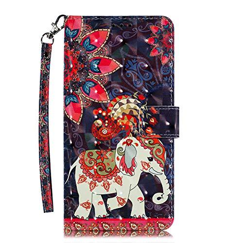 Huawei P20 Lite Hülle, CAXPRO® Leder und TPU Innere Brieftasche Handyhülle, Flip Ledertasche mit Standfunktion & Kartensfach für Huawei P20 Lite, Elefant