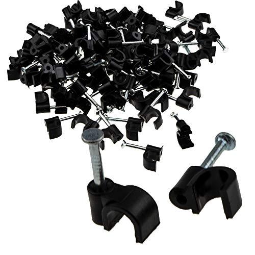 kenable Schwarz 100 x 5 mm Runde Kabel Clips Sichern Befestigungen Kabel [5mm]