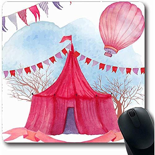 Mousepad Oblong 18X22Cm Paviljoen Rode Tent Aquarel Circus Parken Luifel Amusement Ballon Carnaval Fair lint Ontwerp Office Computer Laptop Notebook Mouse Pad,Antislip Rubber